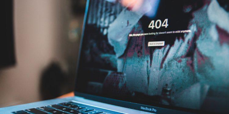 Computer screen displaying 404 error message