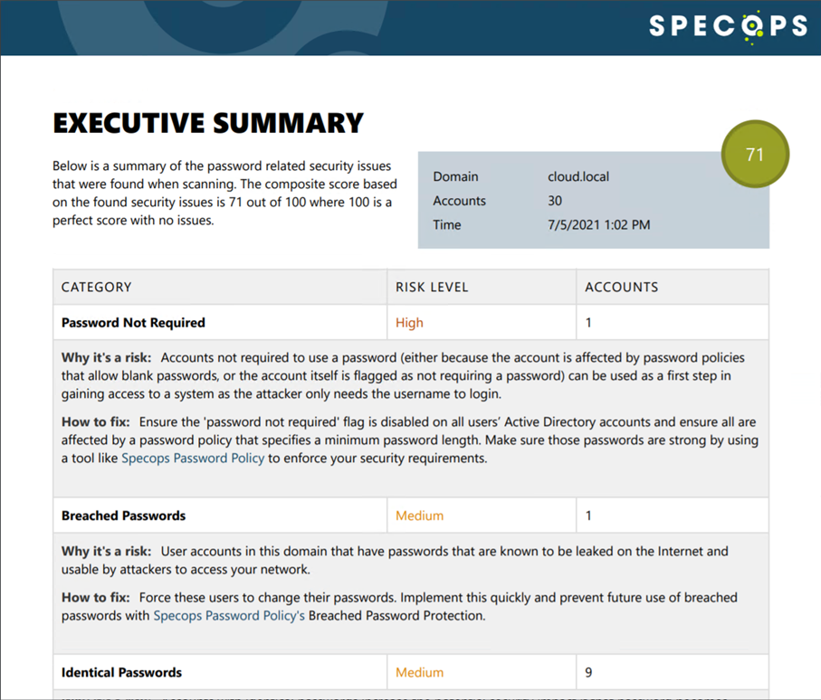 Creating an Executive Summary report with Specops Password Auditor